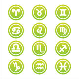 Set of 12 zodiac signs. Set of 12 green zodiac signs vector illustration