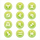Set of 12 zodiac signs. Set of 12 green zodiac signs Vector Illustration