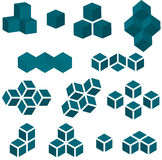 Set of 13 Cube Pieces for Logo. An illustrated set of 13 pieces of a cube that can be used for logo or clip art Royalty Free Stock Photo