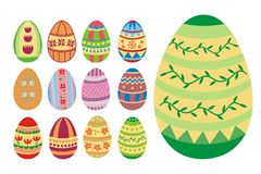 Set of 13 easter eggs Stock Photos