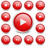Set of 13 music and video buttons Stock Image