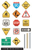 Set of 14 Highway Signs. A wide assortment of sign illustrations plus three different post designs which work with all of the signs. Great for icons or visual Royalty Free Stock Image