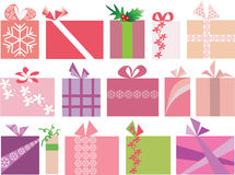 Set of 15 christmas gifts vector Stock Photos