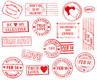 Set of 15 Valentine's Day Stamps. A set of 15 large, Valentine's Day-themed stamps isolated on white. Ideal for bitmap brushes, retro collages, etc Stock Photography