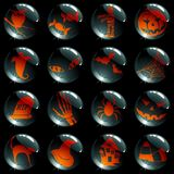 Set of 16 black halloween buttons Royalty Free Stock Photo
