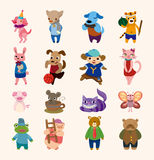Set of 16 cute animal icons. Cartoon vector illustration Vector Illustration