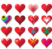 Set of 16 hearts Stock Photo