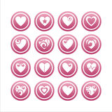 Set of 16 hearts signs. Set of 16 hearts pink signs royalty free illustration
