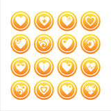 Set of 16 hearts signs. Set of 16 hearts orange signs stock illustration