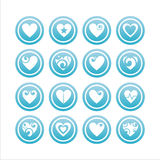 Set of 16 hearts signs. Set of 16 hearts blue signs royalty free illustration
