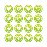 Set of 16 hearts signs. Set of 16 green hearts signs vector illustration
