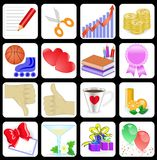 Set of 16 icons for web sites Stock Image