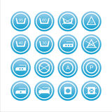 Set of 16 laundry signs Stock Images