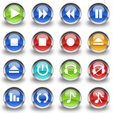 Set of 16 music icons & buttons. Perfect for use as icons on a website or blog. Can be used, for example, to control the music on the website Stock Photo
