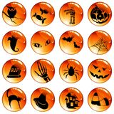 Set of 16 orange halloween buttons. Collection of high-gloss icons with a halloween theme. Graphics are grouped and in several layers for easy editing. The file Royalty Free Stock Photo