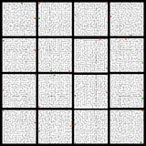 Set of 16 perfect maze. EPS 8 Stock Images