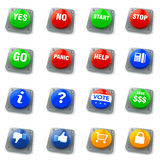 Set of 16 Push Buttons Stock Images