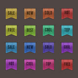 Set of 16 quality textured ribbons. This vector image is fully editable Stock Image