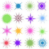 Set of 16 Starburst Shapes. Set of 16 different starburst designs in various colors Stock Image