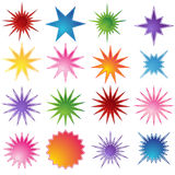 Set of 16 Starburst Shapes. Set of 16 different starburst designs in various colors Royalty Free Stock Photography