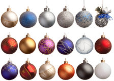 Set of 18 chrismas balls Royalty Free Stock Photos