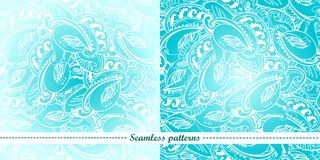Set of 2 abstract seamless patterns Stock Photo
