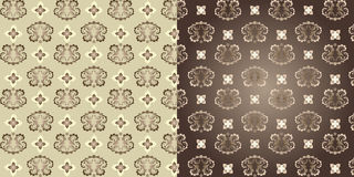 Set of 2 classic decorative seamless backgrounds. Classic decorative seamless background with floral pattern Royalty Free Stock Photos