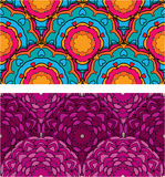 Set of 2 colorful seamless patterns with round orn Royalty Free Stock Photography