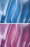 Set of 2 draped satin backgrounds - blue and pink Stock Photo