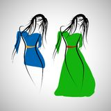 Set of 2 fashion girl dress. Royalty Free Stock Photo