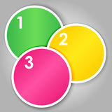 Set 2 of numbered round stickers. Set 2 of colorful round label or stickers in bright colors with 1,2,3, numbers in white, over light grey gradient background Stock Photos
