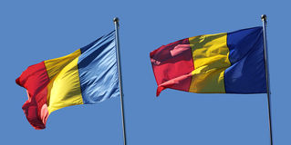 Set of 2 Romanian flags in different positions Stock Photography