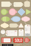 Set of 20 Different Vector Tags. Vector illustrations of gift tags, price tags, inventory tags, sold tags, and even a toe tag. Includes strings and all colors Royalty Free Stock Photography