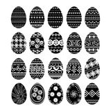 Set of 20 Easter eggs. Set of 20 icons of black color Easter eggs Stock Illustration