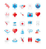 Set of 20 glossy medical icons. Red and blue vector illustration