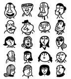 Set of 20 icon outline faces. Set of twenty icon  faces of people Stock Photo