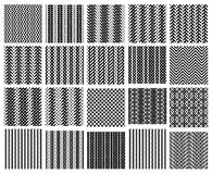 Set of 20 monochrome simply seamless patterns. Set of 20 monochrome simply seamless pattens may be used as backgrounds Stock Images