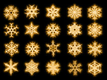 Set of 20 snowflakes in sparkled style. On black background Stock Photo