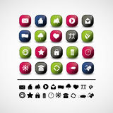 Set of 20 web icons and design elements. Set of 20 colorful and glossy web icons & design elements Stock Images
