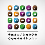 Set of 20 web icons and design elements. Set of 20 colorful and glossy web icons & design elements Royalty Free Stock Images