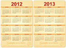 Set of 2012 and 2013 Calendar Stock Photos