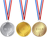 Set of 2013 medals. Isolated over white background Stock Photography