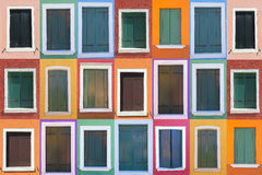 Set of 21 old color windows Royalty Free Stock Images