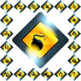Set of 21 yellow hazard signs Stock Photography