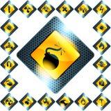 Set of 21 yellow hazard signs Stock Photography