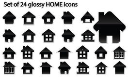 Set of 24 glossy home icons Royalty Free Stock Images