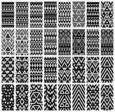 Set of 24 patterns. Tribal monochrome lace patterns. Vector illustration Royalty Free Stock Image