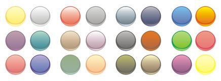 Set of 24 vector web buttons. Set of vector web buttons - collection of blank glowing, colorful circular web buttons isolated on white background royalty free illustration