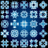 Set of 25 a four-rays crystal gradient snowflakes. Vector illustration on dark blue background Royalty Free Stock Images