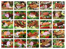 Set of 25 pork products. Photo of the polish ham Stock Image